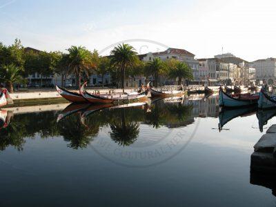 Moliceiro boats in Ria de Aveiro lagoon urban canals