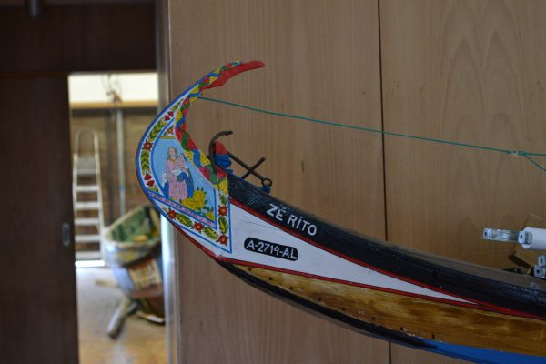 Details of traditional painting on a miniature boat
