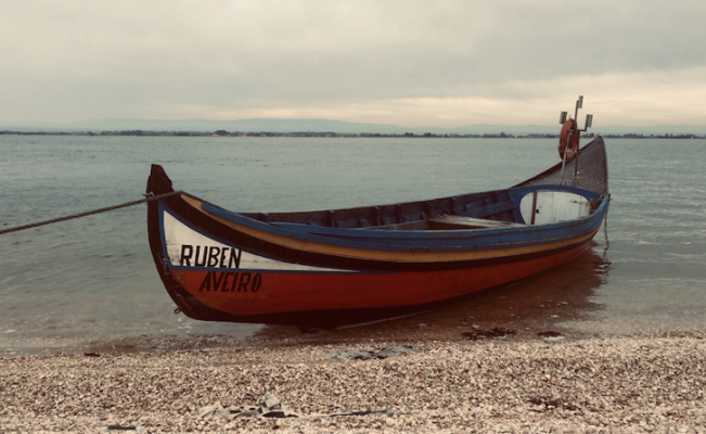 Traditional boat named Bateira from the Ria de Aveiro lagoon