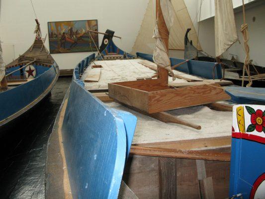 Traditional boat named Bateira from the Ria de Aveiro lagoon