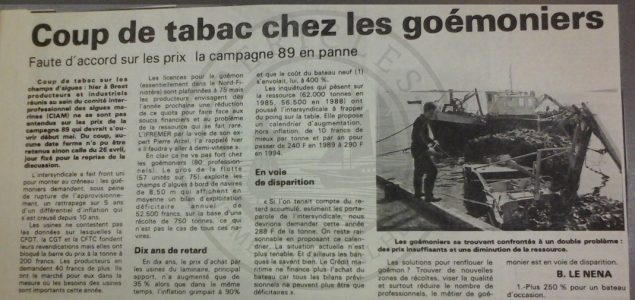B3 - Article from local newpaper of April 15th 1989 - Brittany - Departmental archives of Finistère