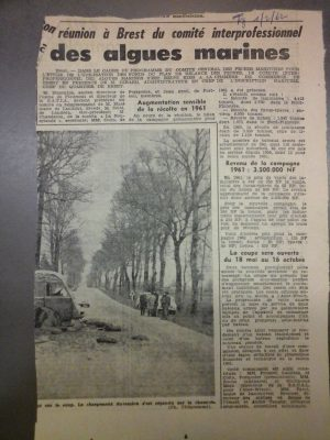 B3 - Article from local newpaper of February 2nd 1962 - Brittany - Departmental archives of Finistère