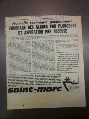 B3 - Article from local newpaper of June 15th 1962 - Brittany - Departmental archives of Finistère