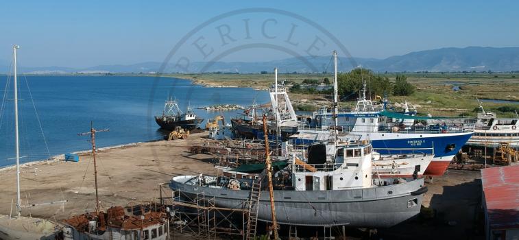 Keramoti lagoon, shipshed, Greece