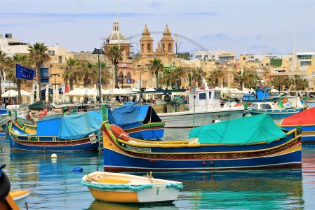 Marsaxlokk, Malta. The Waterfront of Marsaxlokk is the place where the Sunday's fish market takes place. It is visited by locals and tourist looking for a fresh caught from the sea, vegetables, clothes, traditional food products and all sort of souvenirs    (Photo: Jordi Vegas Macias)